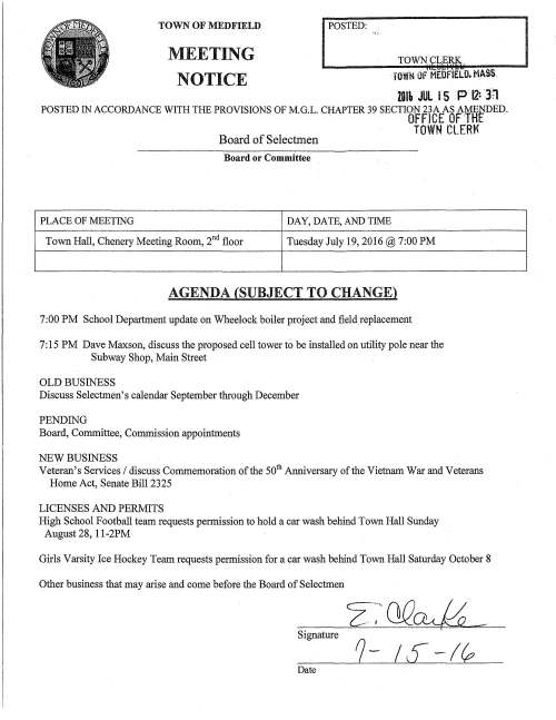 "TOWN OF MEDFIELD MEETING NOTICE I POSTED: rowN OF MEOflELO. MASS. 2Dlh JUL rs • P 12: lrt POSTED IN ACCORDANCE WITH THE PROVISIONS OF M.G.L. CHAPTER39 SECTION 23A AS AMENDED. OFFICE OF ·THE Board of Selectmen TOWN CLERt< Board or Committee PLACE OF MEETING DAY, DA TE, AND TIME Town Hall, Chenery Meeting Room, 2nct floor Tuesday July 19, 2016@ 7:00 PM AGENDA (SUBJECT TO CHANGE) 7:00 PM School Department update on Wheelock boiler project and field replacement 7:15 PM Dave Maxson, discuss the proposed cell tower to be installed on utility pole near the Subway Shop, Main Street OLD BUSINESS Discuss Selectmen's calendar September through December PENDING Board, Committee, Commission appointments NEW BUSINESS Veteran's Services I discuss Commemoration of the 50th Anniversary of the Vietnam War and Veterans Home Act, Senate Bill 2325 LICENSES AND PERMITS High School Football team requests permission to hold a car wash behind Town Hall Sunday August 28, 1 l-2PM Girls Varsity Ice Hockey Team requests permission for a car wash behind Town Hall Saturday October 8 Other business that may arise and come before the Board of Selectmen Signature 1- 1£-l EXISTING SECONDARY POWER TO POLE ACROSS STREET PROPOSED 60A FUSED DISCONNECT & SURGE ARRESTOR GROUND LEVEL ELEV.~ O'± (AGL) 180'± (AMSL) 5' -8.5' (AGL) IN ACCORDANCE WITH UTIUTY COMPANY REQUIREMENTS ELEVATION 11x17 SCALE: 1""=5' 22x34 SCALE: 1 ""=2.5' LE-2 PROPOSED (1) ANTENNA 15.1""t;!l x 24.2""H PROPOSED 3 FT.± FIBERGLASS POLE-TOP EXTENSION MOUNT L EXISTING SECONDARY POWER TO BUILDING EXISTING COMM WIRES c EXJSTJNG TELCO TO BUILDlNG UU EXISTING CUMBING PEGS 5 (ALTERNATING SIDES) PROPOSED CONDUIT (COAX FROM RRH) PROPOSED CONDUIT (FIBER) PROPOSED (1) 1/2"" COAX PROPOSED AC/DC CONVERTER q; MOUNTED BEHIND RRH ~ PROPOSED (1) 70DMHz RRH@ PROPOSED SAR-0 @ MOUNTED BEHIND RRH 4 LE-3 1--EXISTING UTILITY POLE #6X GROUND ROD 2.5 0 - "".J'~t=' 2tg ~ -f-109:: -oC-Jo=> - w 5 = AN ANALYSIS OF THE CAPACITY OF THE EXISTING STRUCTURE TO SUPPORT THE PROPOSED LOADING HAS NOT BEEN COMPLETED BY PROTERRA DESIGN GROUP, lLC. DRAWINGS ARE SUBJECT TD CHANGE PENDING THE OUTCOME OF A STRUCTURAL ANALYSIS. PHOTO DETAIL SCALE' N.T.S. l fA3E EXHIBIT THIS LEASE IS SCHEMATIC IN NATURE AND IS INTENDED TO PROVIDE GENERAL INFORMATION REGARDING THE LOCATION AND SIZE OF THE PROPOSED WIRELESS COMMUNICATION FACILITY. THE SITE LAYOUT WILL BE FINALIZED UPON COMPLETION OF SITE SURVEY AND FACILITY DESIGN. IMAGE SOURCE' PROTERRA 05/07/15 (2 ~ 1- iii :c xw w en"