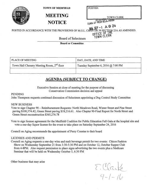 TOWN OF MEDFIELD POSTED: MEETING TOWN CLERK NOTICE 1QltN Of HEOfELO. l'A . . St.> .-  A () 2lt . POSTED IN ACCORDANCE WITH THE PROVISIONS OF M.G.L. cJl~TER 39 SEC1fR~ 23A AS AMENDED. OffC~ 8[t.R