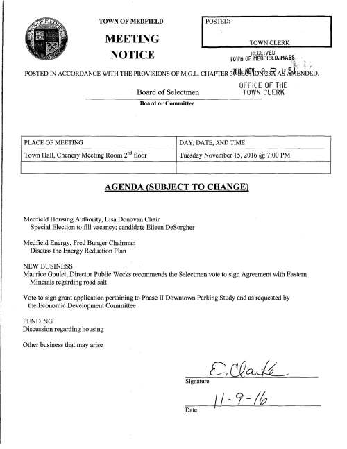 TOWN OF MEDFIELD MEETING NOTICE I POSTED: TOWN CLERK t