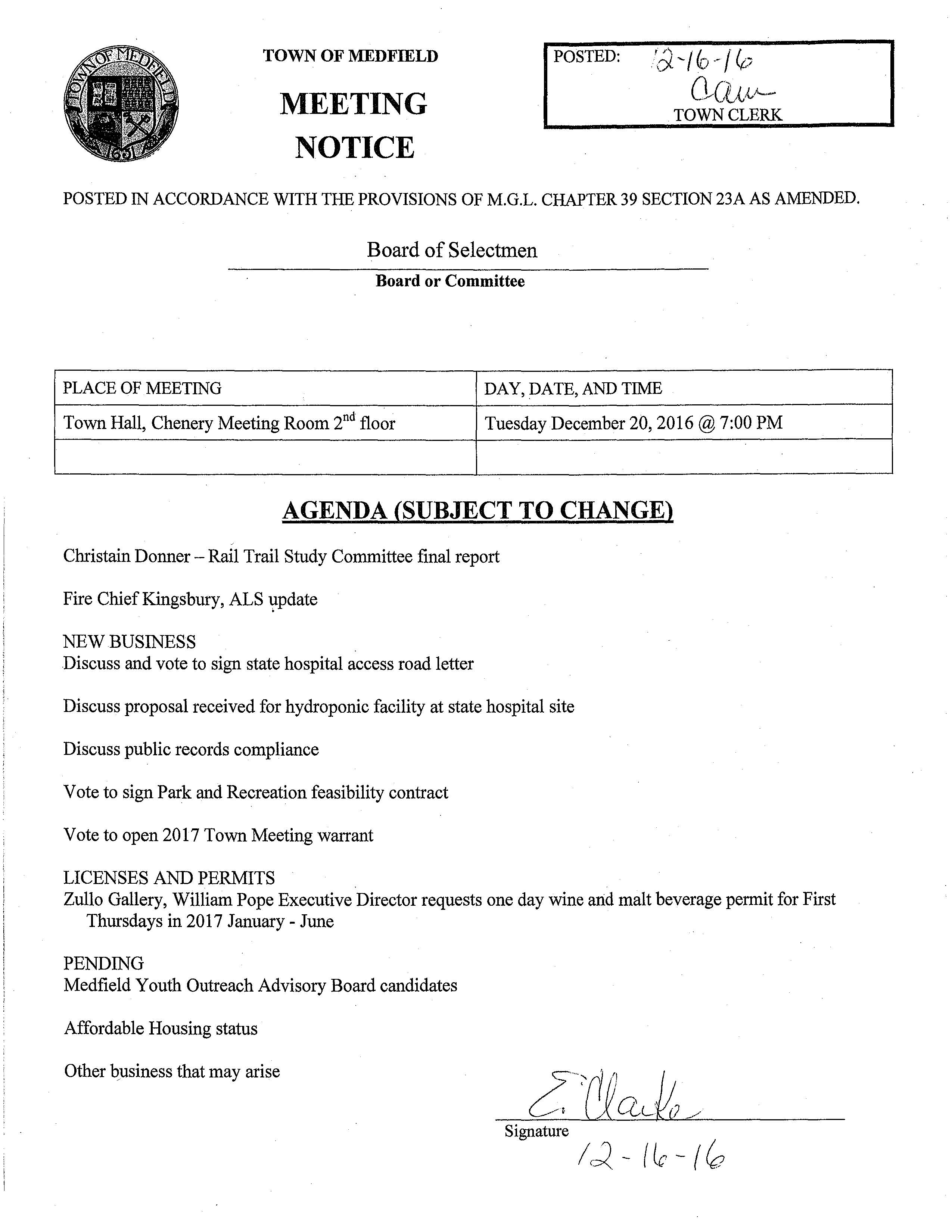TOWN OF MEDFIELD MEETING NOTICE POSTED: 'd.-/fo--/0 0/Q,