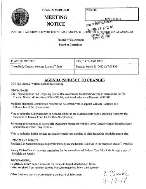 TOWN OF MEDFIELD POSTED: MEETING ,,. ... TOWN CLERK NOTICE i