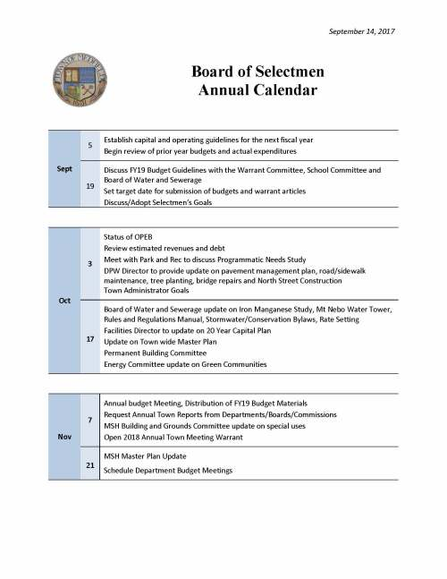 September 14, 2017 Board of Selectmen Annual Calendar Sept 5 Establish capital and operating guidelines for the next fiscal year Begin review of prior year budgets and actual expenditures 19 Discuss FY19 Budget Guidelines with the Warrant Committee, School Committee and Board of Water and Sewerage Set target date for submission of budgets and warrant articles Discuss/Adopt Selectmen's Goals Oct 3 Status of OPEB Review estimated revenues and debt Meet with Park and Rec to discuss Programmatic Needs Study DPW Director to provide update on pavement management plan, road/sidewalk maintenance, tree planting, bridge repairs and North Street Construction Town Administrator Goals 17 Board of Water and Sewerage update on Iron Manganese Study, Mt Nebo Water Tower, Rules and Regulations Manual, Stormwater/Conservation Bylaws, Rate Setting Facilities Director to update on 20 Year Capital Plan Update on Town wide Master Plan Permanent Building Committee Energy Committee update on Green Communities Nov 7 Annual budget Meeting, Distribution of FY19 Budget Materials Request Annual Town Reports from Departments/Boards/Commissions MSH Building and Grounds Committee update on special uses Open 2018 Annual Town Meeting Warrant 21 MSH Master Plan Update Schedule Department Budget Meetings September 14, 2017 Dec 5 Annual Reclassification Hearing with the Board of Assessors Police Chief Update FY2019 Budgets due to Town Accountant Update on Downtown, Econ Development and Historic Issues Year End Update on SWAP Area 19 Final FY2017 Financials Free Cash Certification for close of FY2017 Updated Tax Levy estimate for FY2019 Update from ALS Study Committee Warrant Committee and MSH Master Planning Committee to discuss Special Town Meeting Jan 2 Special Town Meeting Preparations Preliminary Review of Annual Town Meeting Warrant Articles and Budgets Deadline for Annual Town Meeting Warrant Articles requiring Legal Review Deadline for Annual Town Meeting Warrant Articles by Citizen Petition Library Director Update 16 Town Administrator Budget Updates: BOS, TA, Health and Life, Liability and Workers Comp Board of Health update on Marijuana, beavers and other health issues Lyme Disease Study Committee Update Feb 6 20 Update from Fire Chief Search Committee Close the 2018 Annual Town Meeting Warrant Capital Budgets due to the BOS ____________________________________________________________________________ Continued Annual Town Meeting Budget/Article Discussions Deadline to file papers for Annual Town Election September 14, 2017 March 6 20 Update from Fire Chief Search Committee Sign Annual Town Meeting Election _________________________________________________________________________ Annual Warrant Hearing for 2018 Annual Town Meeting Annual Town Election Review final Annual Town Meeting Warrant Articles and assign to BOS April 3 17 Reorganization of the BOS Sign Annual Town Meeting Warrant for Posting __________________________________________________________________________ Annual Town Meeting Warrant mailed to all residents 2018 Annual Town Meeting May 1 15 Discuss process for Town Administrator Evaluation __________________________________________________________________________ Begin to discuss Goals and Objectives for next Fiscal Year June 5 19 Begin review Annual Committee Appointments Town Administrator Performance Evaluation __________________________________________________________________________ Finalize and set Goals and Objectives for upcoming Fiscal Year