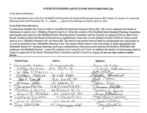 VOTER PETITIONED ARTICLE FOR TOWN MEETING (D) To the Board of Selectmen: We, the undersigned voters of the Town of Medfield, hereby petition the Board of Selectmen pursuant to MGL Chapter 39, Section J 0, to insert the following article in the Warrant for the X_Annual Special Town Meeting to be held on April 24, 2018 To see if the Town will vote to: To determine whether the Town in order to expedite development along Ice House Rd. will vote to authorize the Board of Selectmen to remove Lot 1 (Hinkley Property) and Lot 3 from the control ofthe Medfield State Hospital Planning Committee and transfer said control to the Medfield Senior Housing Study Committee and the Council on Aging (COA) or other Town Board. Further to direct the Board of Selectman to expeditiously enter into a Local Initiative Project (LIP) on Town owned land on Lot 1 (Hinkley Property) off Ice House Rd. The land or any portion thereof shall be incorporated into said project at no cost by donation to the Affordable Housing Trust. The project shall contract with a developer to build appropriate and affordable Senior 65+ housing featuring ranch type condominiums with price points between $350,000 to $500,000 with preference for Medfield Seniors. Land will continue to be owned by the Town. In addition the details of said housing shall be subject to approval of the Senior Housing Study Committee and the Council on Aging. Or take any other action in relation thereto.