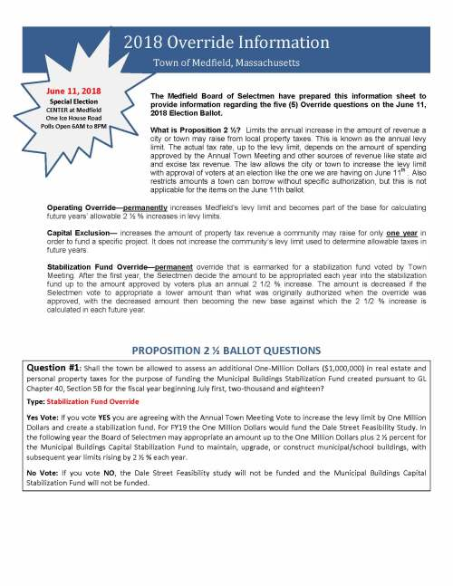 2018 Override Information Town of Medfield, Massachusetts The Medfield Board of Selectmen have prepared this information sheet to provide information regarding the five (5) Override questions on the June 11, 2018 Election Ballot. What is Proposition 2 ½? Limits the annual increase in the amount of revenue a city or town may raise from local property taxes. This is known as the annual levy limit. The actual tax rate, up to the levy limit, depends on the amount of spending approved by the Annual Town Meeting and other sources of revenue like state aid and excise tax revenue. The law allows the city or town to increase the levy limit with approval of voters at an election like the one we are having on June 11th . Also restricts amounts a town can borrow without specific authorization, but this is not applicable for the items on the June 11th ballot. Operating Override—permanently increases Medfield's levy limit and becomes part of the base for calculating future years' allowable 2 ½ % increases in levy limits. Capital Exclusion— increases the amount of property tax revenue a community may raise for only one year in order to fund a specific project. It does not increase the community's levy limit used to determine allowable taxes in future years. Stabilization Fund Override—permanent override that is earmarked for a stabilization fund voted by Town Meeting. After the first year, the Selectmen decide the amount to be appropriated each year into the stabilization fund up to the amount approved by voters plus an annual 2 1/2 % increase. The amount is decreased if the Selectmen vote to appropriate a lower amount than what was originally authorized when the override was approved, with the decreased amount then becoming the new base against which the 2 1/2 % increase is calculated in each future year. PROPOSITION 2 ½ BALLOT QUESTIONS Question #1: Shall the town be allowed to assess an additional One‐Million Dollars ($1,000,000) in real estate and personal property taxes for the purpose of funding the Municipal Buildings Stabilization Fund created pursuant to GL Chapter 40, Section 5B for the fiscal year beginning July first, two‐thousand and eighteen? Type: Stabilization Fund Override Yes Vote: If you vote YES you are agreeing with the Annual Town Meeting Vote to increase the levy limit by One Million Dollars and create a stabilization fund. For FY19 the One Million Dollars would fund the Dale Street Feasibility Study. In the following year the Board of Selectmen may appropriate an amount up to the One Million Dollars plus 2 ½ percent for the Municipal Buildings Capital Stabilization Fund to maintain, upgrade, or construct municipal/school buildings, with subsequent year limits rising by 2 ½ % each year. No Vote: If you vote NO, the Dale Street Feasibility study will not be funded and the Municipal Buildings Capital Stabilization Fund will not be funded. June 11, 2018 Special Election CENTER at Medfield One Ice House Road Polls Open 6AM to 8PM Question #2: Shall the Town of Medfield be allowed to assess an additional One‐Million Six‐Hundred and Sixty Three Thousand One‐Hundred Three Dollars ($1,663,103) in real estate and personal property taxes for the purpose of increasing school and town departmental operating budgets for the fiscal year beginning July first, two‐thousand and eighteen? Type: Operating Override Yes Vote: If you vote YES you are agreeing with the budget adopted by the Annual Town Meeting, which requires an increase in the levy limit of $1,663,103. This reflects a 3.88% increase to the Town's operating budget (including a 9% increase in health and pension benefits for Town and School employees) and a 6.16% increase to the School Department budget. This increase in the tax levy will be a permanent increase in the base used to determine future year's levy limits. No Vote: If you vote NO, the town will not increase the levy limit and will instead adopt the balanced budget as voted at Town Meeting. A balanced budget reflects a 3.37% increase to the Town's operating budget (including a 9% increase in health and pension benefits for Town and School employees) and a 3% increase to the School Department Budget. Question #3: Shall the Town of Medfield be allowed to assess an additional Two‐Hundred Fifty Thousand Dollars ($250,000) in real estate and personal property taxes for the purpose of providing Advanced Life Support (ALS) services for the fiscal year beginning July first, two‐thousand and eighteen? Type: Operating Override Yes Vote: If you vote YES, you are agreeing with the Annual Town Meeting vote to provide ALS services within the Fire Department by hiring additional Paramedic personnel and/or training existing FF/EMT's as Paramedics. No Vote: If you vote NO, the Town of Medfield will not provide an ALS level of service and will remain at a basic life support level (BLS) Question #4: Shall the Town of Medfield be allowed to assess an additional One‐Hundred Fifty Thousand Dollars ($150,000) in real estate and personal property taxes for the purpose of preparing a Feasibility Study for a new park and recreational facility for the fiscal year beginning July first, two‐thousand and eighteen? Type: Capital Exclusion Yes Vote: If you vote YES, you are agreeing with the Annual Town Meeting vote to temporarily increase the tax levy for one year to conduct a feasibility study to evaluate potential sites for a new Parks and Recreation facility. This increase in the levy limit will only be in effect for FY19. No Vote: If you vote NO, the feasibility study for a new Park and Recreation facility will not be completed. Question #5: Shall the Town of Medfield be allowed to assess an additional One‐Hundred and Fifty Thousand Dollars ($150,000) in real estate and personal property taxes for the purpose of preparing a Town‐wide master plan for the fiscal year beginning July first, two‐thousand and eighteen? Type: Capital Exclusion Yes Vote: If you vote YES, you are agreeing with the Annual Town Meeting vote to temporarily increase the tax levy for one year to fund an update to the last comprehensive Master Plan which was completed in 1964. This increase in the levy limit will only be in effect for FY19. No Vote: If you vote NO, completion of an update to the current Master Plan will not be accomplished in FY19.