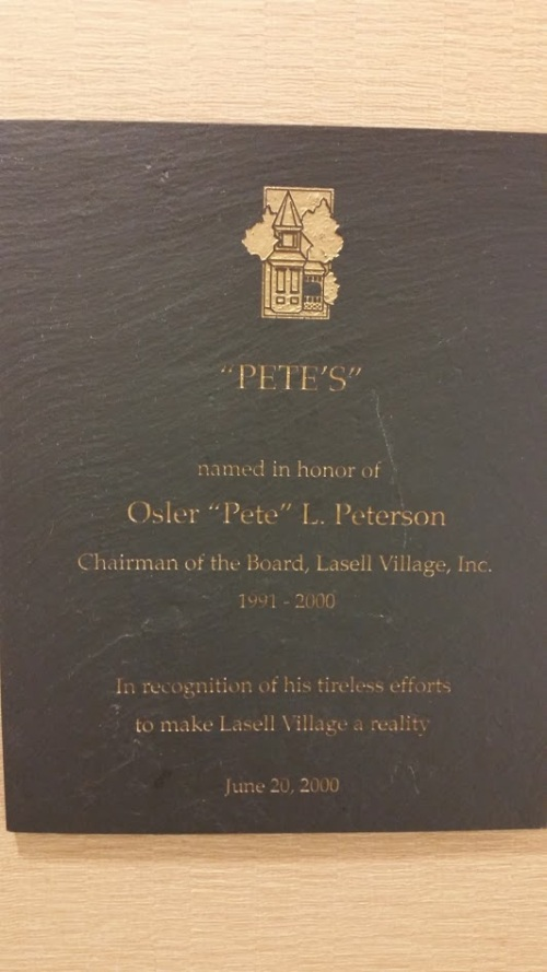 Pete's plaque