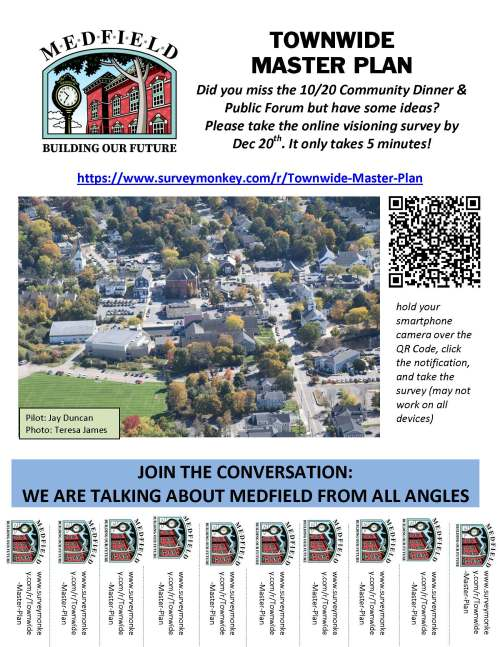 TOWNWIDE MASTER PLAN Did you miss the 10/20 Community Dinner & Public Forum but have some ideas? Please take the online visioning survey by Dec 20th. It only takes 5 minutes! https://www.surveymonkey.com/r/Townwide-Master-Plan www.surveymonkey.com/r/Townwide-Master-Plan www.surveymonkey.com/r/Townwide-Master-Plan www.surveymonkey.com/r/Townwide-Master-Plan www.surveymonkey.com/r/Townwide-Master-Plan www.surveymonkey.com/r/Townwide-Master-Plan www.surveymonkey.com/r/Townwide-Master-Plan www.surveymonkey.com/r/Townwide-Master-Plan www.surveymonkey.com/r/Townwide-Master-Plan www.surveymonkey.com/r/Townwide-Master-Plan www.surveymonkey.com/r/Townwide-Master-Plan JOIN THE CONVERSATION: WE ARE TALKING ABOUT MEDFIELD FROM ALL ANGLES hold your smartphone camera over the QR Code, click the notification, and take the survey (may not work on all devices) Pilot: Jay Duncan Photo: Teresa James