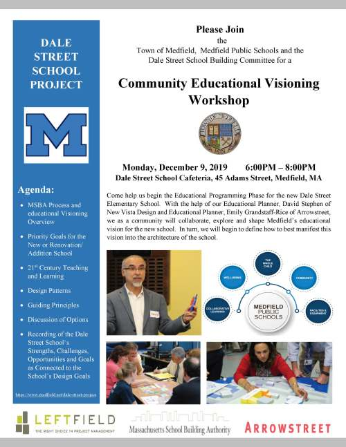 Please Join the Town of Medfield, Medfield Public Schools and the Dale Street School Building Committee for a Community Educational Visioning Workshop Monday, December 9, 2019 6:00PM – 8:00PM Dale Street School Cafeteria, 45 Adams Street, Medfield, MA Come help us begin the Educational Programming Phase for the new Dale Street Elementary School. With the help of our Educational Planner, David Stephen of New Vista Design and Educational Planner, Emily Grandstaff-Rice of Arrowstreet, we as a community will collaborate, explore and shape Medfield's educational vision for the new school. In turn, we will begin to define how to best manifest this vision into the architecture of the school. DALE STREET SCHOOL PROJECT Agenda:  MSBA Process and educational Visioning Overview  Priority Goals for the New or Renovation/ Addition School  21st Century Teaching and Learning  Design Patterns  Guiding Principles  Discussion of Options  Recording of the Dale Street School's Strengths, Challenges, Opportunities and Goals as Connected to the School's Design Goals https://www.medfield.net/dale-street-project