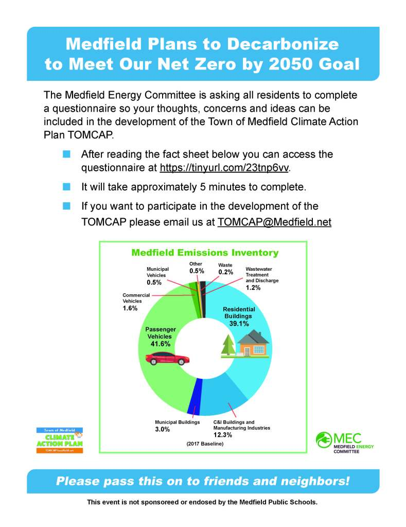 """Medfield Plans to Decarbonize to Meet Our Net Zero by 2050 Goal The Medfield Energy Committee is asking all residents to complete a questionnaire so your thoughts, concerns and ideas can be included in the development of the Town of Medfield Climate Action Plan TOMCAP. n After reading the fact sheet below you can access the questionnaire at https://tinyurl.com/23tnp6vv. n It will take approximately 5 minutes to complete. n If you want to participate in the development of the TOMCAP please email us at TOMCAP@Medfield.net Please pass this on to friends and neighbors! This event is not sponsoreed or endosed by the Medfield Public Schools. Medfield Emissions InventoryResidentialBuildings 39.1%PassengerVehicles 41.6%C&I Buildings and Manufacturing Industries 12.3% Municipal Buildings 3.0%Commercial Vehicles 1.6%Other 0.5%Wastewater Treatmentand Discharge1.2%Municipal Vehicles 0.5%Waste 0.2%(2017 Baseline)Town of MedfieldCLIMATE CLIMATE TOMCAP@medfield.net ACTIOACTIO N PLANN PLAN Medfield is Planning for Decarbonizing Medfield voted to support a Net Zero 2050 Goal and to develop a Climate Action Plan to reach that goal (Town Meeting, May 2021). This public outreach effort by the Medfield Energy Committee (MEC) aims to inform and engage residents in developing the Town of Medfield Climate Action Plan (TOMCAP). What is Net Zero carbon emissions? The Medfield Net Zero 2050 goal is in line with Federal and Massachusetts goals and strategies. """"Net Zero"""" means that we reduce most greenhouse gas emissions and offset the rest. Most reductions will be achieved through personal actions that are voluntary and make economic sense. What strategies are available to reduce our emissions significantly? Medfielders can remove the most carbon by driving an electric vehicle, installing a heat pump to heat and cool your home, reducing energy needs (insulation, high efficiency lighting and appliances) and supporting electricity made from renewable sources. When do I act? The best time to make"""